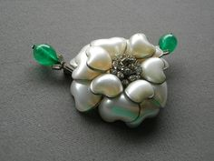 Maison Grixpoix For Chanel Signed France Pourred Glass White Pearl Camellia Pin Brooch FREE SHIPPING World Wide
