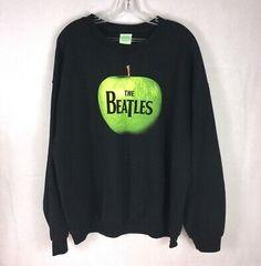 The Beatles Branded Black Crew Neck Sz XL Sweatshirt Green Apple Logo 2005 Band Apple Corps, Beatles Sgt Pepper, Apple Logo, Black Nylons, Black Rubber, The Beatles, Man Clothes, Crew Neck, Graphic Sweatshirt