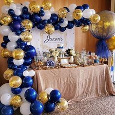 Navy, white and gold for jaxsons christening day. Gorgoues dessert table by @sugarcoatedcandydessertbuffets