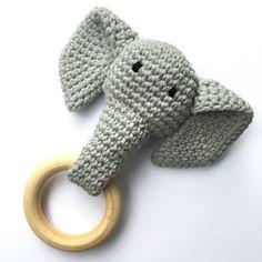 Grey Crochet Elephant Teething Ring / Wood Teether by Crochet Elephant Pattern, Crochet Amigurumi Free Patterns, Crochet Bunny, Crochet Dolls, Crochet Animals, Newborn Toys, Baby Toys, Crochet Diagram, Stuffed Toys Patterns
