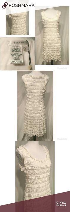 Sophie Max Lace Ivory Cream Dress Size L Beautiful Sophie Max from Max Studio NWT cream sleeveless fully lined stretchy dress with lace and ruffles size large. Sophie Max Dresses Mini
