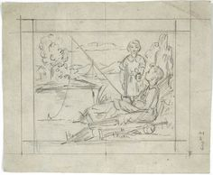 Boy Fishing Scene-Sketch for Stained Glass Design