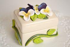 Polymer Clay Flowers  Flower Jewelry Box  by CraftyClayStudio