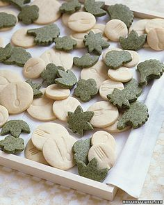 Shortbread cookies, some made with green tea.  I like the idea of stamping the shortbread with a kitchen utensil stamp to fit the theme.
