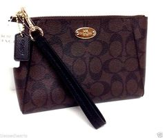 NWT COACH Signature Morgan Wristlet Clutch Purse Brown Black Leather small 65060 in Clothing, Shoes & Accessories, Women's Handbags & Bags, Handbags & Purses | eBay