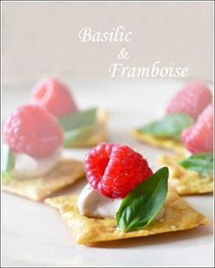 Raspberry Canapés with Basil and Balsamic Vinegar. A fun and easy appetizer recipe for spring by www.cookthestory.com