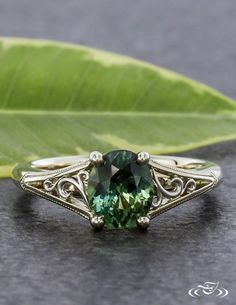 Montana Sapphire Filigree Engagement Ring. Green Lake Jewelry