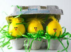 niedliche küken ostergras ostereier ostern basteln mit federn #Easter #eggs #decor