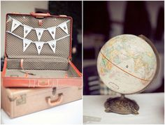 travel themed wedding.  THe globe could be the guest list and people who wish to give us a contribution as a wedding gift can put it in the suitcase!
