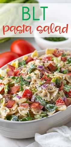 This BLT Pasta Salad is so easy and such a delicious flavor combination! Tender pasta coated with creamy ranch dressing tossed with crispy bacon, lettuce, tomato, red onion, parsley and seasonings is always a potluck favorite! Blt Pasta Salads, Blt Salad, Bacon Pasta, Easy Pasta Salad, Lettuce Salads, Pasta Food, Fresh Salad Recipes, Tomato Salad Recipes, Pasta Recipes