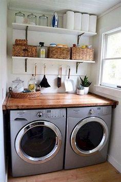 55 Inspiring Small Laundry Room Design Ideas Design # - Home Design Tiny Laundry Rooms, Laundry Room Remodel, Laundry Room Organization, Laundry Room Design, Laundry In Bathroom, Organization Ideas, Storage Ideas, Diy Storage, Laundry Room Shelving