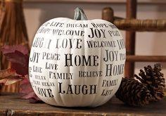"Craft Painting - Stenciled ""Happy Words"" Pumpkin Decor"