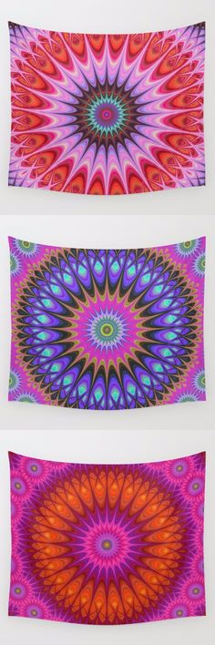 Mandala wall tapestry collection. Mandala - boho chic - hippie - indian - floral - kaleidoscope tapestries - wall hangings.