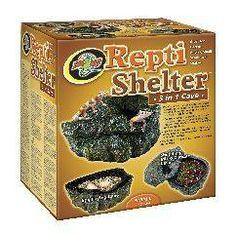 Reptile Products Zoo Med - Reptile Cav 3 In 1 Shelter For Snales, Lizards and Amphibians For Breading and Shedding.
