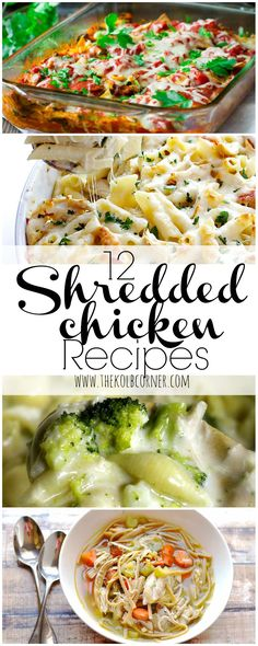 12 Shredded Chicken Recipes Make a large batch of shredded chicken, and simplify dinner time. Here's 12 easy and tasty meal ideas that start with shredded chicken. Think Food, I Love Food, Carne Desebrada, Cooking Recipes, Healthy Recipes, Easy Recipes, Cooking Bacon, Cooking Ideas, Healthy Food