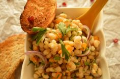Beans are loaded with antioxidants, they are also a good source of fiber and protein, so try this white bean salad with red onion and pomegranate seeds. Good Source Of Fiber, Pomegranate Seeds, Bean Salad, White Beans, Onion, Vegetables, Red, Bean Salads, Vegetable Recipes