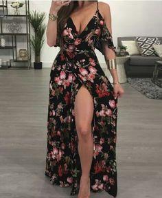 Ruffled Floral Print High Slit Cold Shoulder Maxi Slip Dress, Source by shoppingnew Dresses Trend Fashion, Womens Fashion, Fashion Fashion, Holiday Fashion, Feminine Fashion, Fashion Sale, Fashion Lookbook, Paris Fashion, Runway Fashion
