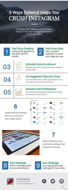 Wondering why your competition is finding success on Instagram, but you aren't? Looking for help? Here are 9 features of @Tailwind to help you crush it. | http://thesmh.co/Crush-Insta by @mikeallton