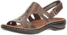 Clarks Women's Leisa Lakelyn Flat Sandal, Pewter Metallic...