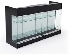 6ft. Cash Wrap w/Display Case Front, Locking Drawers & Shelves on Backside - Black