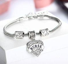 Crystal Nurse Charm Bracelet