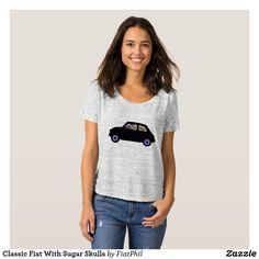 Classic Fiat With Sugar Skulls T-Shirt | Zazzle