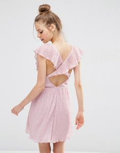 Image 1 of ASOS Soft Ruffle Lace Plunge Mini Dress