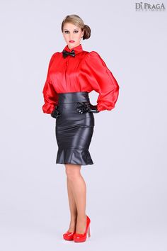 Red Satin Blouse Black Leather Pencil Skirt Sheer Pantyhose and Red stiletto high Heels