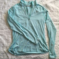 Nike Dri-Fit Running Zip-Up ⚜Blue and white striped Nike zip-up                   ⚜Great condition and very comfortable             ⚜Has thumb holes Nike Tops Tees - Long Sleeve