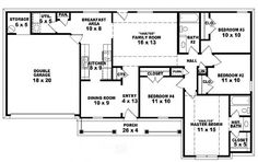 #653785 - One-story 4 bedroom, 2 bath traditional ranch style house plan : House Plans, Floor Plans, Home Plans, Plan It at HousePlanIt.com