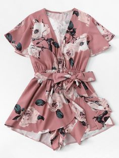 Monos Verano 2019 Mujer Playsuit Women V-Neck Bow Sashes Floral Printing Short Sleeve Romper Ladies Summer Shorts Playsuit Teen Fashion Outfits, Outfits For Teens, Plus Size Outfits, Girl Outfits, Cute Rompers, Rompers Women, Jumpsuits For Women, Cute Summer Outfits, Cute Casual Outfits