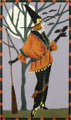 Melissa Shirley Designs | Hand Painted Needlepoint | Witch with Bat and Broom