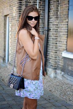 EJ Style x Lolu Rhoda Boots London, Leopard Boots, Sleeveless Jacket, Chanel Boy Bag, London Street, Street Style, Dress Summer, My Style, Floral