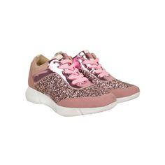Pink Glitter Iridescent Flat Wedge Sole Fashion Trainers - Fizzi