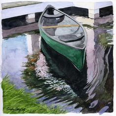 Canoe in the Lake Watercolor Print Boat by cindydaystudio on Etsy, *CC*