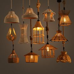 American country industrial hemp chandelier retro
