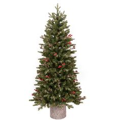 GE 7.5-ft Pre-Lit Aspen Fir Slim Artificial Christmas Tree ...