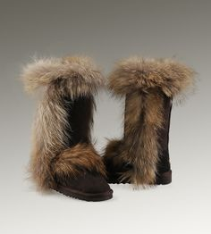 UGG Tall Fox Fur 5815 Black Boots