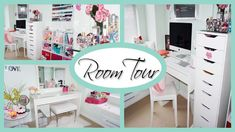 ROOM TOUR 2015 ♥ Office & Vanity Organization + Storage Ideas