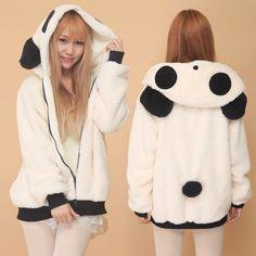 Cálido invierno para mujer ropa Cardigan domesticado gallina otoño panda de la historieta Adorable de la felpa del oído cinturón prendas de vestir exteriores envío gratis