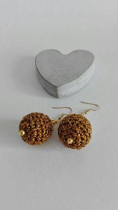 Golden crochet dangling drop earrings. | Etsy Wooden Beads, Crochet Earrings, My Etsy Shop, Take That, Drop Earrings, Elegant, Handmade, Stuff To Buy, Jewelry