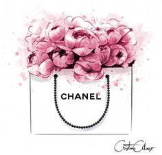 Image of Peonies + Chanel Print Chanel Print, Chanel Poster, Chanel Chanel, Chanel Nails, Chanel Logo, Mode Poster, Megan Hess, Illustration Mode, Fashion Illustration Chanel