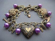 Charm Bracelet Valentine Jewelry  Valentine Bracelet  by SilverTrumpetJewelry, $48.00