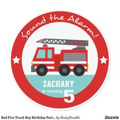 Shop Red Fire Truck Boy Birthday Party, Circle Invitation created by RustyDoodle. Boy Birthday Invitations, Birthday Party Themes, Custom Invitations, Birthday Cards, Invitation Ideas, Birthday Supplies, Party Napkins, Kids Cards, Fire Trucks