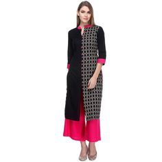 Cotton+Black+Stitched+Printed+Straight+Kurti+With+Palazzo+-+W110507 at Rs 1499