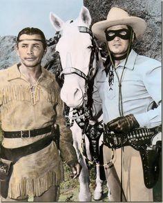 Jay Silverheels, Silver, and Clayton Moore.