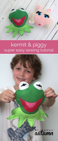 Learn to sew these easy Felt Kermit and Miss Piggy dolls for the kids. | shop supplies @joannstores