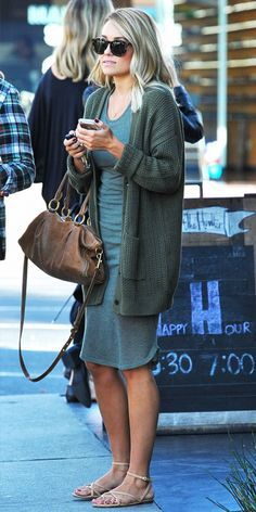 Lauren Conrad in a knit dress and cozy cardigan