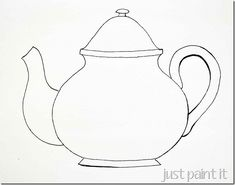 Teapot & cups pattern templates for painting, embroidery, coloring pages and more.
