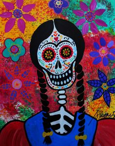 Mexican Day Of The Dead FRIDA KAHLO Flowers PRISARTS Original FOLK ART Pristine